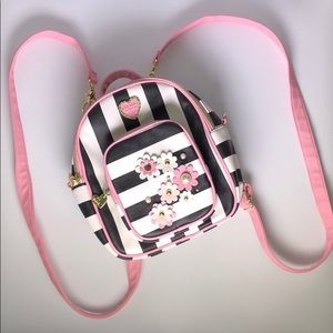 Betsey Johnson Striped Floral Backpack